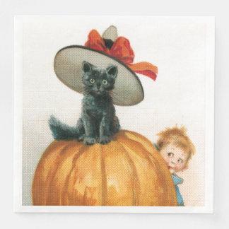 Black Cat On A Pumpkin Paper Napkins