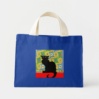 Black Cat on Abstract Wallpaper Canvas Bags