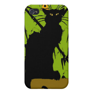 Black Cat on Abstract Wallpaper Case For iPhone 4