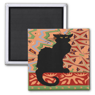 Black Cat on Abstract Wallpaper Magnet