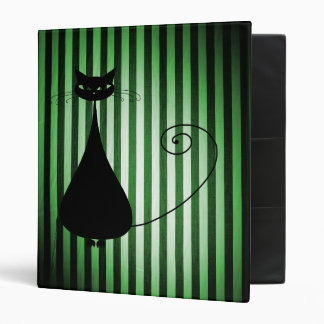 Black Cat on Black & Green Stripes 3 Ring Binders