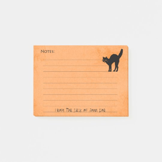 Black Cat on Custom Halloween Orange Note Pad: