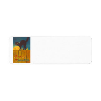 Black Cat On Fence Man In The Moon Return Address Label