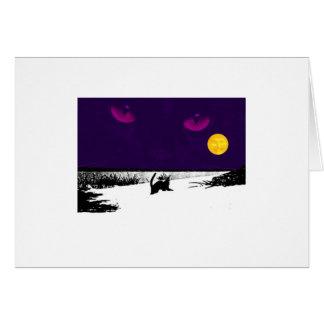 Black Cat on Full Moon Card