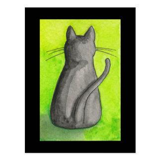 Black Cat on Green Postcard
