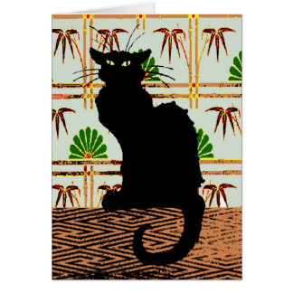 Black Cat on Japanese Wall Paper Card