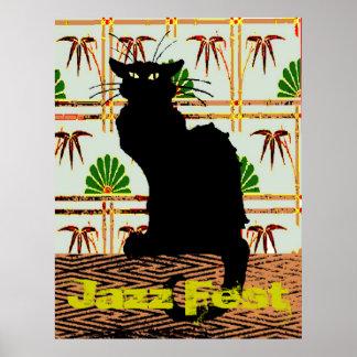 Black Cat on Japanese Wall Paper, Jazz Fest Poster