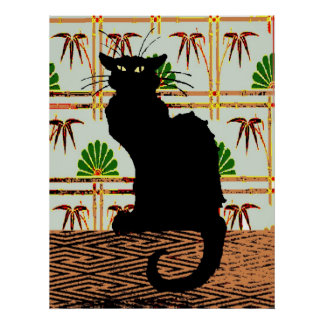 Black Cat on Japanese Wall Paper Poster
