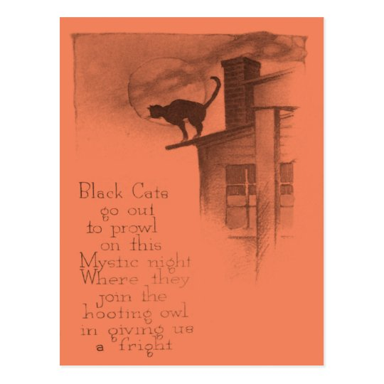 Black Cat On Roof Full Moon Postcard