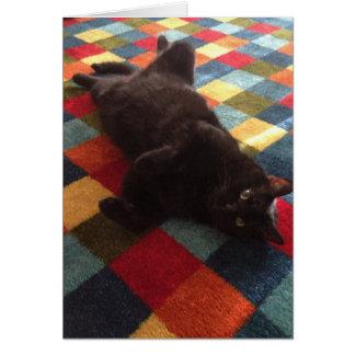 Black Cat on Rug Birthday Card
