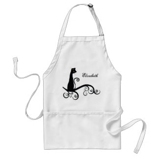 Black Cat On Swirly Branch Personalized Standard Apron