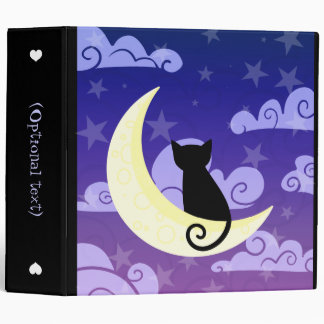 Black cat on the moon in starry night sky large binders