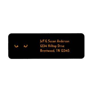 Black Cat Orange Eyes Halloween Address Labels