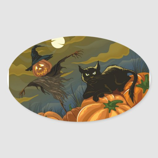 Black Cat, Orange Pumpkins & Scary Scarecrow Oval Stickers