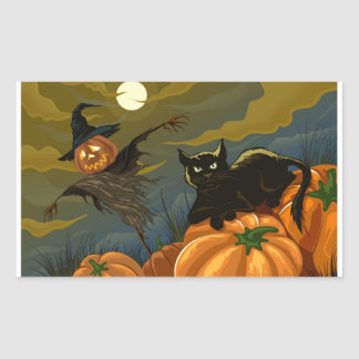 Black Cat, Orange Pumpkins & Scary Scarecrow Rectangle Stickers