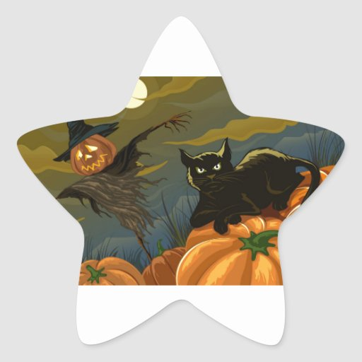 Black Cat, Orange Pumpkins & Scary Scarecrow Stickers