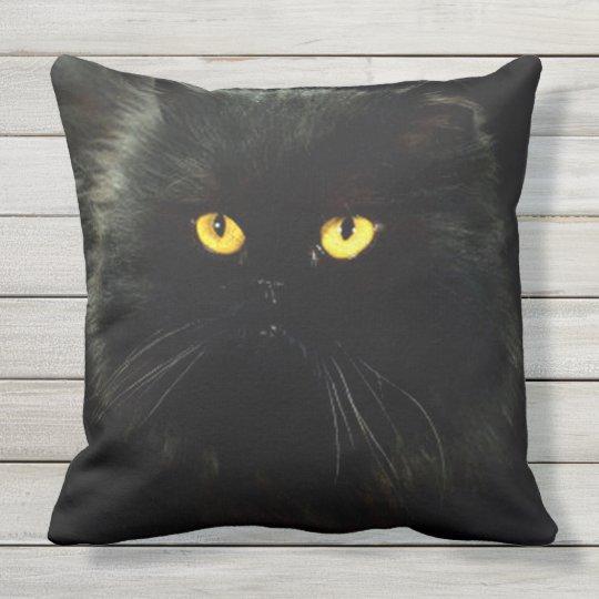 Black Cat Outdoor Pillow