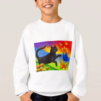 Black Cat Painting Butterflies Art - Multi Sweatshirt