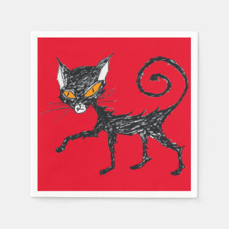 Black cat paper napkins