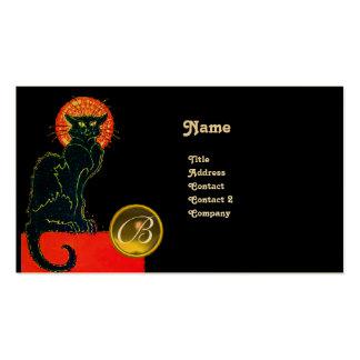 BLACK CAT PARTY MONOGRAM BUSINESS CARD
