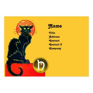 BLACK CAT PARTY MONOGRAM LARGE BUSINESS CARD