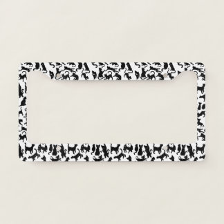 Black Cat Pattern License Plate Frame