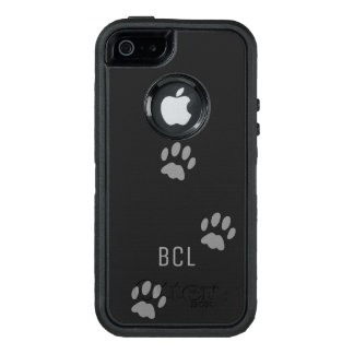 Black Cat Paw Print OtterBox Defender Personalized OtterBox iPhone 5/5s/SE Case