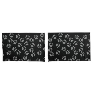 Black Cat Paw Print Pattern Pillowcases