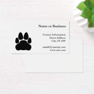 Black Cat Paw Print Shape Business Card