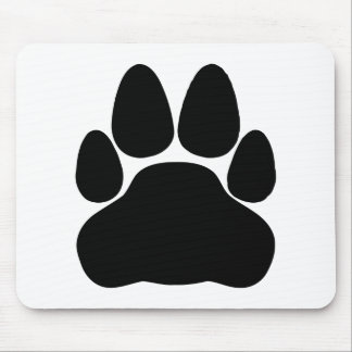 Black Cat Paw Print Shape Mouse Pad