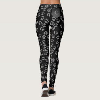 Black Cat Paw Prints Pattern Monogram Leggings