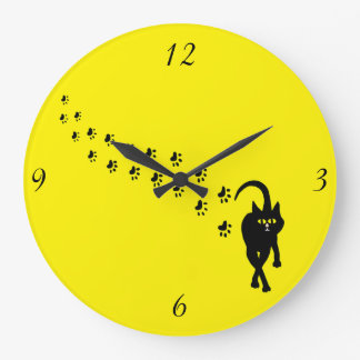 Black Cat Pawprints Wall Clock