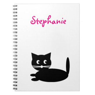 Black Cat Personalized Kids Name Notebooks
