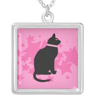 Black cat, pink stars on pink design necklaces