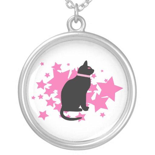 Black cat, pink stars on white design pendant
