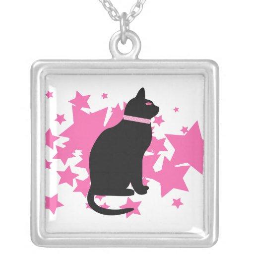 Black cat, pink stars on white design necklaces
