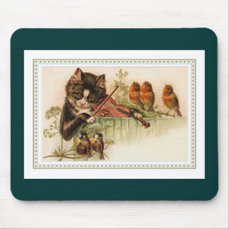 Black Cat Playing the Violin for Songbirds Mouse Pad
