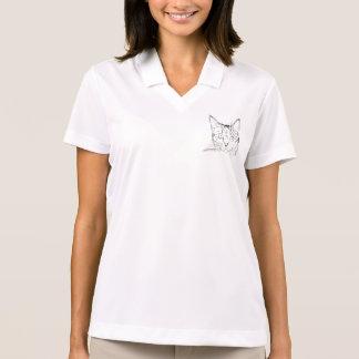 Black Cat Portrait Sketch Polo Shirt