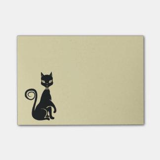 Black Cat Posing Elegant Feline Illustration Post-it Notes