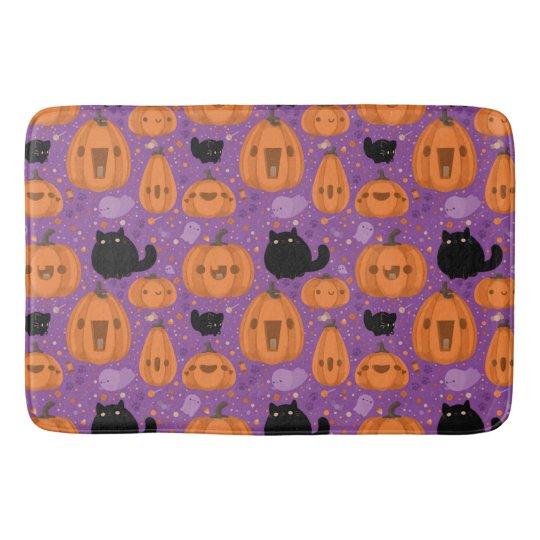 Black cat Pumpkin and Ghost Pattern Bathroom Mat