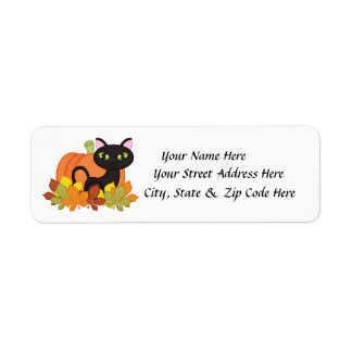 Black Cat Pumpkin Halloween Return Address Labels