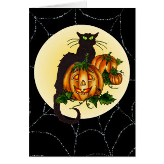 BLACK CAT, PUMPKIN JACK & WEB by SHARON SHARPE Card