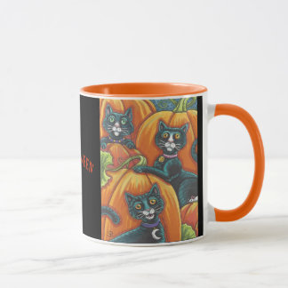 Black Cat Pumpkin Patch Halloween MUG