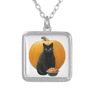 Black Cat Pumpkin Silver Plated Necklace