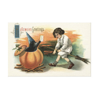 Black Cat Pumpkin Witch's Hat Broom Mail Gallery Wrapped Canvas
