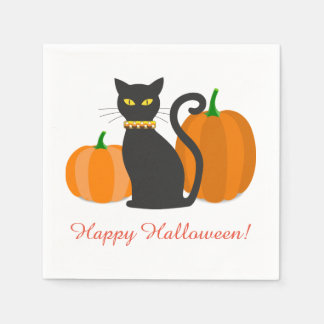 Black Cat & Pumpkins Halloween Party Paper Napkin