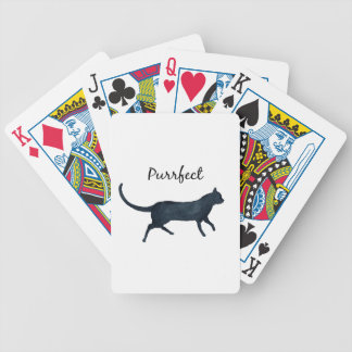 "Black cat ""purrfect"" bicycle playing cards"
