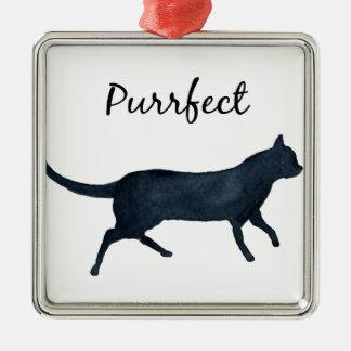 "Black cat ""purrfect"" metal ornament"