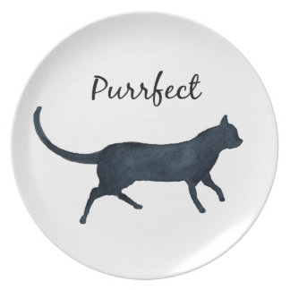"Black cat ""purrfect"" plate"