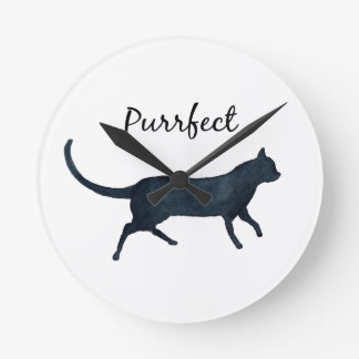 """Black cat """"purrfect"""" round clock"""